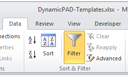 Filter your DynamicPAD info