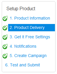TrialPay Product Setup Menu