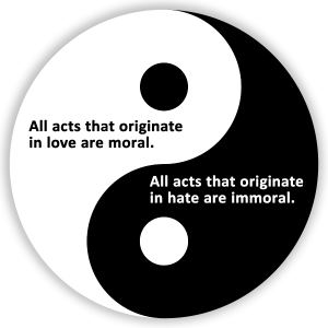 Yin and Yang love and hate moral and immoral