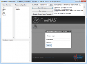 Brute force freenas user password